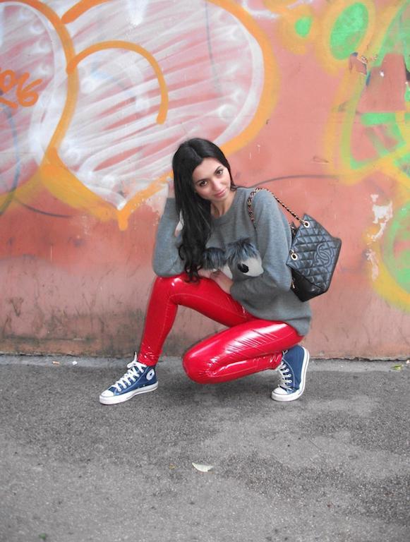 autentica di fabbrica 8d8d2 c76ba Pantaloni skinny in vinile rosso - il must have delle ...